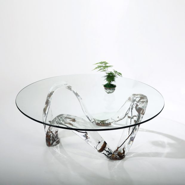 glass table and follower