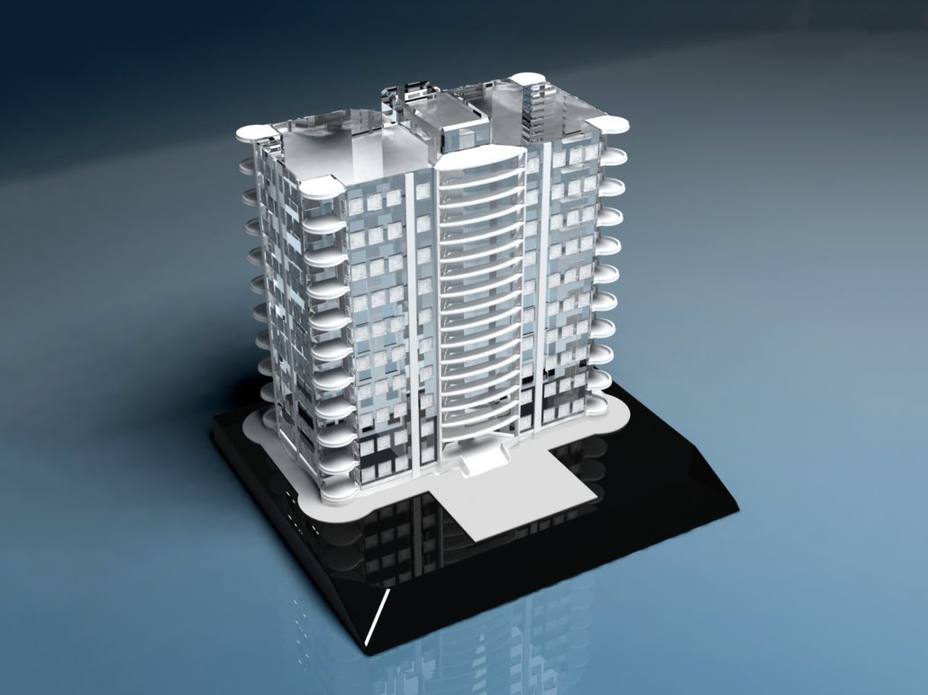 Custom Crystal Condo Building 3d scale models