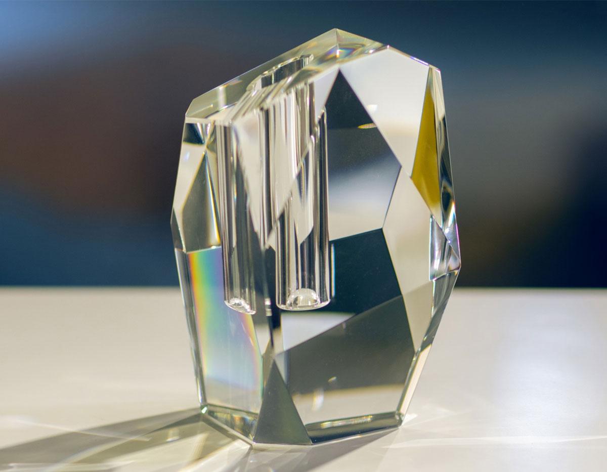 modern clear crystal vase