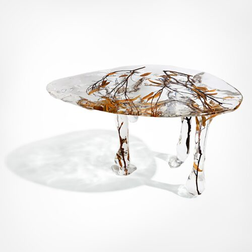 Crystal coffee table with branches