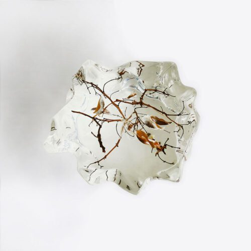 Asymmetrical crystal display pedestal with branches 1