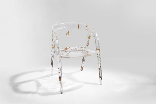 crystal arm chair with water effect