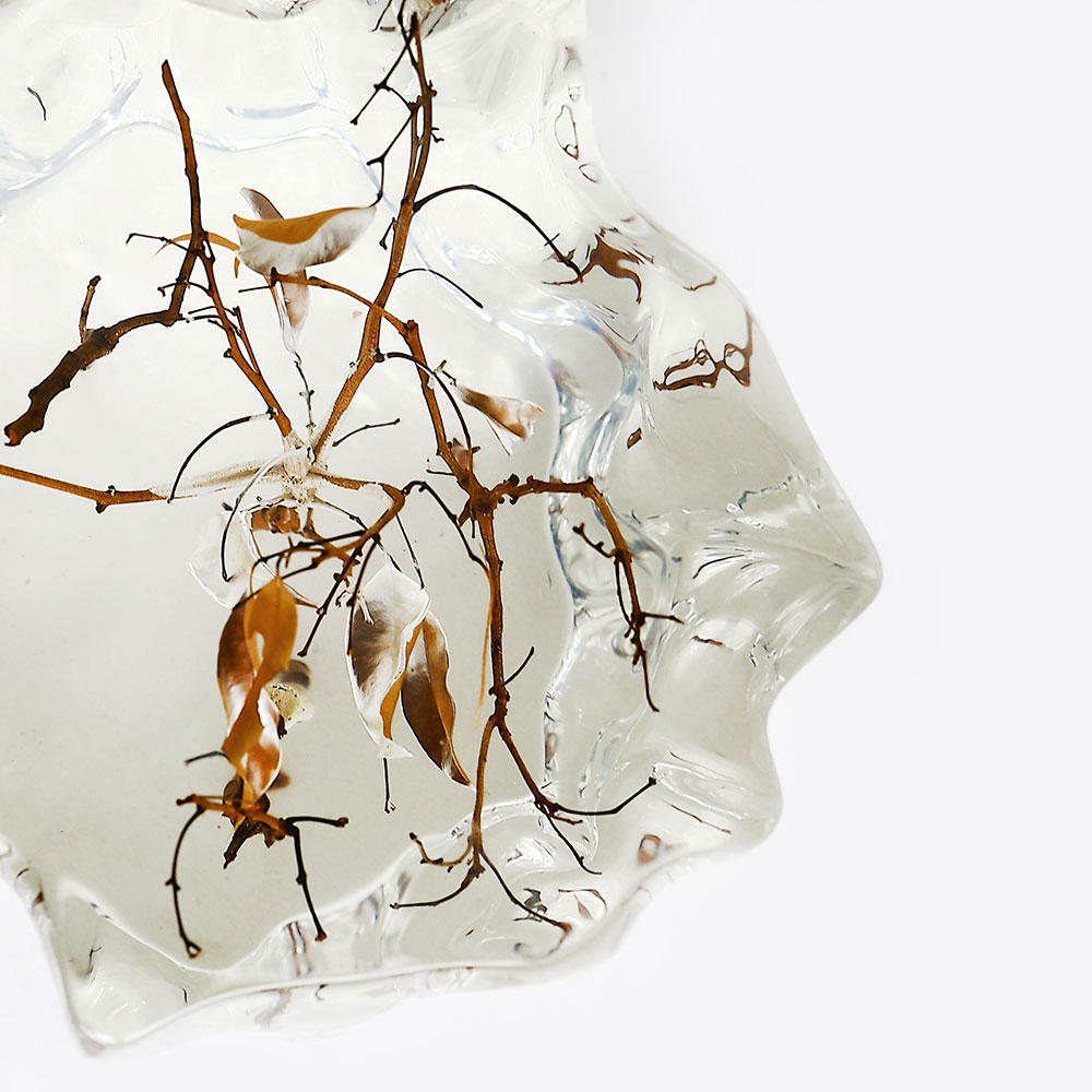 Asymmetrical crystal display pedestal with branches