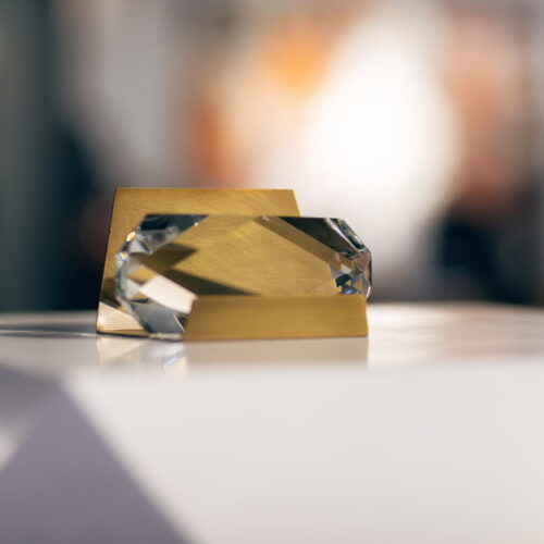 crystal and brass business card holder