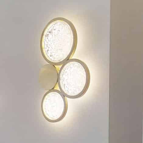 brass wall sconce lighting crystal and brass circles