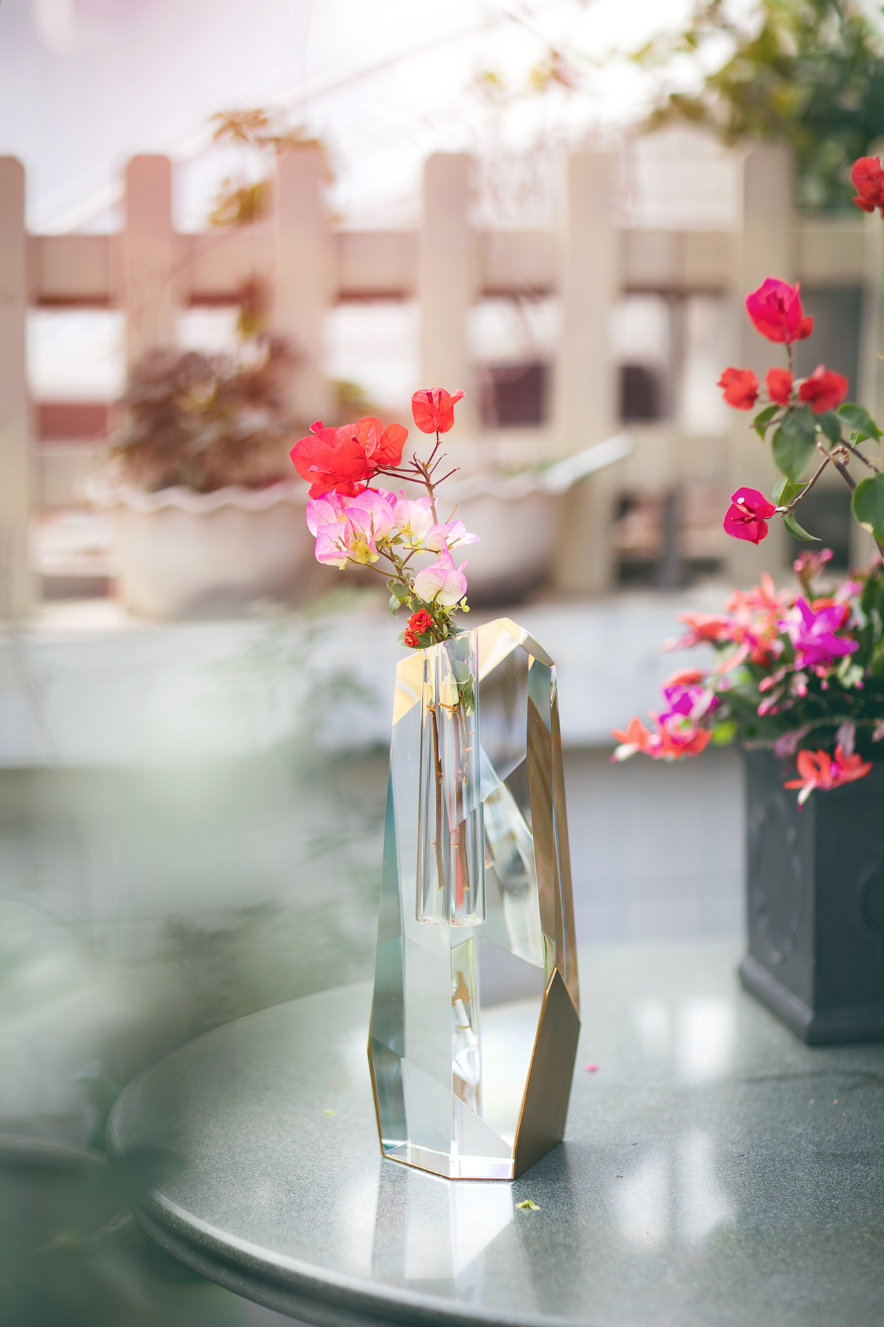 Tall Crystal Brass Vase With Flowers 2