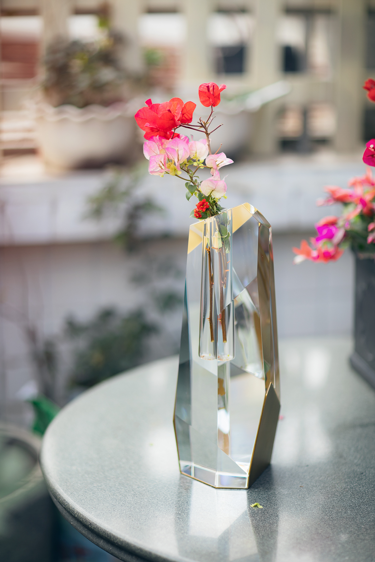 Tall Crystal Brass Vase With Flowers 3