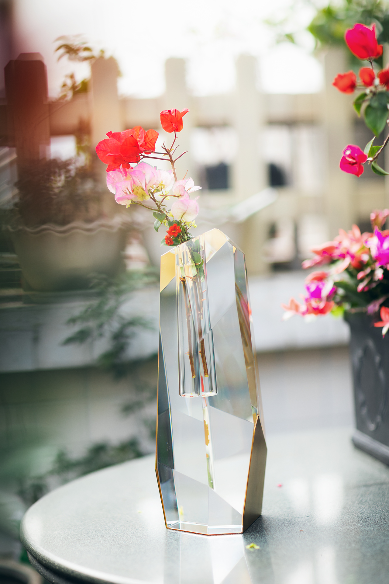 Tall Crystal Brass Vase With Flowers 4