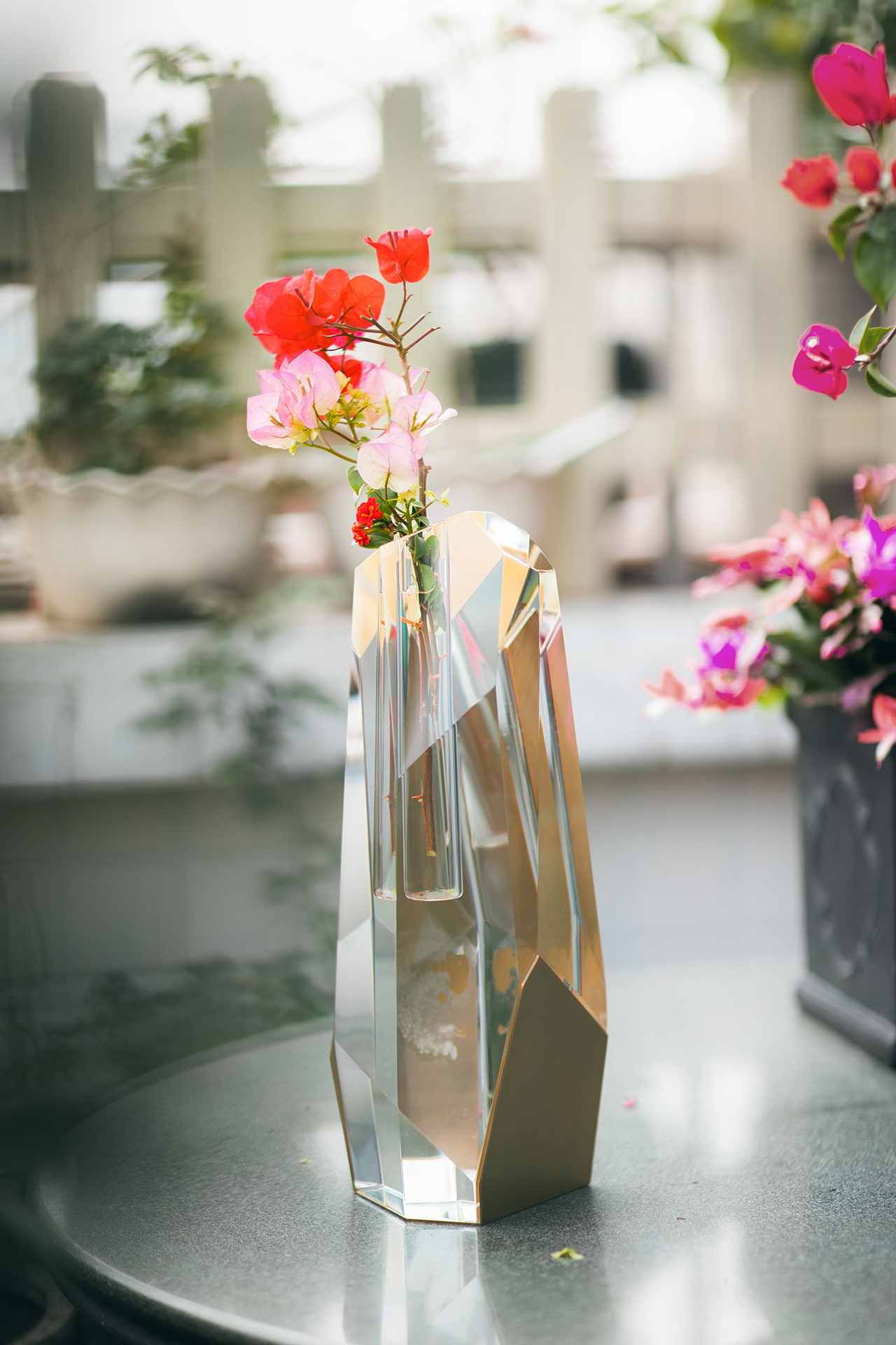 Tall Crystal Brass Vase With Flowers 5