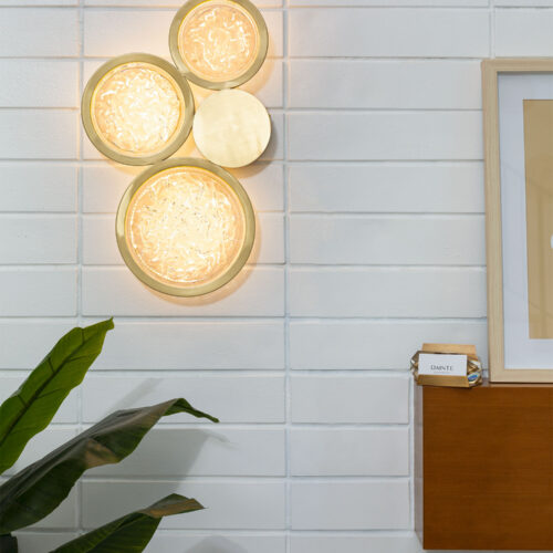 Modern Crystal and Brass Sconce