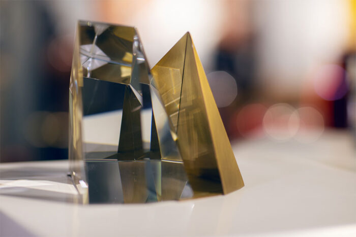 Crystal and brass bookend